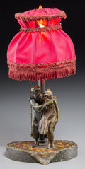 Lighting:Lamps, An Austrian Franz Bergman-Style Cold-Painted Erotic Bronze Figural Lamp, 20th century. 13-1/4 inches high (33.7 cm) (overall...