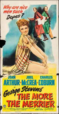 "The More the Merrier (Columbia, 1943). Folded, Very Good/Fine. Three Sheet (41"" X 79""). Comedy"