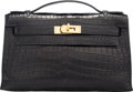 "Luxury Accessories:Bags, Hermes Matte Black Nilo Crocodile Kelly Pochette Bag with Gold Hardware. J Square, 2006. Very Good Condition. 8.5""..."