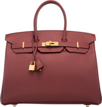 Hermes Limited Edition 35cm Rouge H Epsom Leather Contour Birkin Bag with Gold Hardware T, 2015 Pristine Con