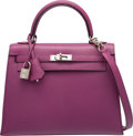 Luxury Accessories:Bags, Hermes 25cm Violet Chevre Mysore Leather Sellier Kelly Bag with Palladium Hardware. I Square, 2005. Excellent Conditio...