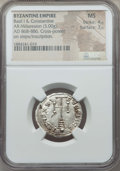 Ancients:Byzantine, Ancients: Basil I & Constantine (868-879). AR miliaresion (3.00gm). NGC MS 4/5 - 3/5....