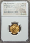 Ancients:Byzantine, Ancients: Constans II (AD 641-668) & Constantine IV (AD654-685). AV solidus (4.39 gm). NGC MS 4/5 - 3/5,clipped. ...