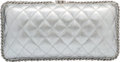 "Luxury Accessories:Bags, Chanel Metallic Silver Quilted Distressed Leather Evening Bag.Very Good to Excellent Condition. 8.5"" Width x 4.5""Hei..."