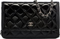 "Luxury Accessories:Bags, Chanel Black Quilted Patent Leather Wallet on Chain Bag.Excellent Condition. 7.5"" Width x 5"" Height x 1.5""Depth. ..."