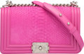"Luxury Accessories:Bags, Chanel Pink Python & Leather Small Boy Bag. ExcellentCondition. 10"" Width x 5.5"" Height x 3"" Depth. ..."
