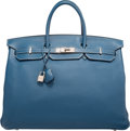 Luxury Accessories:Bags, Hermes 40cm Blue Thalassa Togo Leather Birkin Bag with PalladiumHardware. G Square, 2003. Very Good Condition.15...