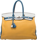 Luxury Accessories:Bags, Hermes Special Order Horseshoe 35cm Curry, Blue Lin & BlueThalassa Clemence Leather Birkin Bag with Palladium Hardware.M...