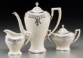 Ceramics & Porcelain, American, A Three-Piece Lenox Belleek Silver Overlay Porcelain Coffee Service, circa 1906-1924. Marks: (palette-L), BELLEEK. 9 inc... (Total: 3 Items)