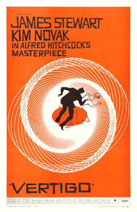 "Vertigo (Paramount, 1958). One Sheet (27"" X 41"") Saul Bass Artwork"