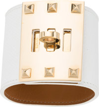 Hermes White Epsom Leather Kelly Dog Extreme PM Bracelet with Gold Hardware P Square, 2012 Excell