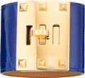 Luxury Accessories:Accessories, Hermes Shiny Blue Electric Alligator Kelly Dog Extreme PM Bracelet with Gold Hardware. R Square, 2014. Pristine Condit...