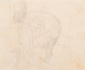 Fine Art - Work on Paper:Drawing, Attributed to Pierre Bonnard (French, 1867-1947). Le bain.Pencil on paper. 4-1/2 x 5-1/2 inches (11.4 x 14.0 cm) (sheet...