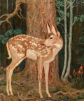 Fine Art - Painting, American, Ila Mae McAfee (American, 1897-1995). Fawn. Oil on canvas.24 x 20 inches (61.0 x 50.8 cm). Signed lower left: IlaMcA...
