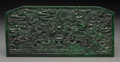 Asian:Chinese, A Chinese Carved Hardstone Plaque with Dragon Motif. 3-3/4 incheshigh x 8 inches wide (9.5 x 20.3 cm). ...