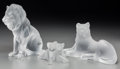 Art Glass:Lalique, Three Lalique Frosted Glass Lion Figure Groups, post-1945. Marks:Lalique, France. 7-5/8 inches high (19.4 cm) (tallest)...(Total: 3 Items)