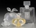 Art Glass:Lalique, Four Clear and Frosted Glass Lalique Perfume Bottles, post-1945.Marks: Lalique, France. 7-5/8 inches (19.4 cm) (tallest...(Total: 4 Items)