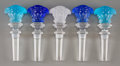 Art Glass:Other , Five Rosenthal for Versace Clear, Blue, and Frosted GlassMasque Stoppers, 20th century. Marks: Rosenthal, VER...(Total: 5 Items)