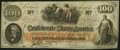Confederate Notes:1862 Issues, Issued at Montgomery By T. Sanford T41 $100 1862 PF-7 Cr. 317.. ...