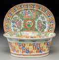 Asian:China Trade, A Chinese Rose Medallion Porcelain Reticulated Bowl andUnderplate, late 19th century. 3-1/2 inches high x 9 inc... (Total:2 Items)
