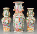 Asian:Chinese, Three Chinese Rose Medallion Porcelain Vases, late 19thcentury. 10 inches high (25.4 cm) (largest). ... (Total: 3 Items)