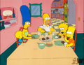 Animation Art:Production Cel, The Simpsons Entire Family Production Cel Setup with MattGroening Sketch (Fox, 1992). ...
