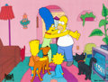 Animation Art:Production Cel, The Simpsons Homer and Family Production Cel with Sketch byMatt Groening (Fox, 1991). ...
