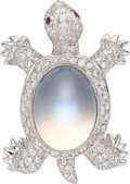 Estate Jewelry:Brooches - Pins, Moonstone, Diamond, Ruby, White Gold Brooch, Assil. ...
