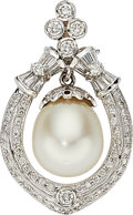 Estate Jewelry:Pendants and Lockets, South Sea Cultured Pearl, Diamond, White Gold Enhancer-Pendant ....