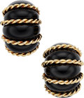Estate Jewelry:Earrings, Black Onyx, Gold Earrings, Seaman Schepps. ...