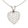 Estate Jewelry:Pendants and Lockets, Diamond, Platinum, White Gold Pendant-Necklace. ...