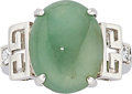 Estate Jewelry:Rings, Jadeite Jade, Topaz, White Gold Ring. ...