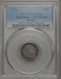 Coins of Hawaii , 1883 10C Hawaii Ten Cents -- Damage -- PCGS Genuine. XF Details.NGC Census: (47/306). PCGS Population: (91/461). CDN: $175...
