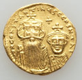 Ancients:Byzantine, Ancients: Constans II & Constantine IV (654-668). AV solidus(4.34 gm). Good VF....
