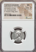 Ancients:Oriental, Ancients: PARTHIAN KINGDOM. Mithridates II (121-91 BC). AR drachm (4.22 gm). NGC MS 5/5 - 4/5....