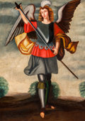 Fine Art - Painting, European:Antique  (Pre 1900), Spanish Colonial School (20th Century). Angel with an arquebus; Angel with a sword (two works). Oil on canvas. 26-1/4 x ... (Total: 2 Items)