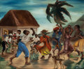 Fine Art - Painting, American:Contemporary   (1950 to present)  , Louverture Poisson (Haitian, 1914-1985). Haitian Dancers,1951. Oil on canvas. 17 x 20-3/4 inches (43.2 x 52.7 cm). Sign...
