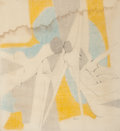 Fine Art - Work on Paper:Drawing, George Ortman (American, b. 1926). Composition, 1959. Penciland colored chalk on paper. 19-3/4 x 18 inches (50.2 x 45.7...