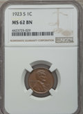 Lincoln Cents: , 1923-S 1C MS62 Brown NGC. NGC Census: (31/60). PCGS Population: (48/114). Mintage 8,700,000. ...