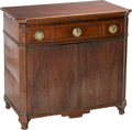 Furniture : English, A George III-Style Mahogany Convertible Tambour Door Cabinet, 19th century. 34 h x 37 w x 20-3/4 d inches (86.4 x 94.0 x 52....