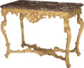 Furniture : French, A French Régence Carved Giltwood Salon Table with Rouge Marble Top, circa 1725 with later elements. 32 h x 43 w x 23-1/2 d i... (Total: 2 Items)
