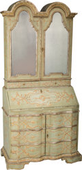 Furniture : Continental, An Italian Rococo-Style Painted Secretary Bookcase, 20th century.87-1/2 h x 40-1/2 w x 21 d inches (222.3 x 102.9 x 53.3 cm...(Total: 2 Items)