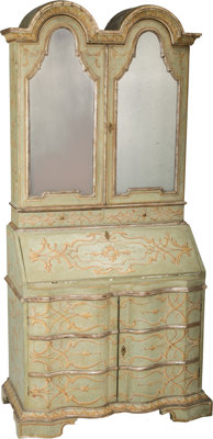 An Italian Rococo-Style Painted Secretary Bookcase, 20th century 87-1/2 h x 40-1/2 w x 21 d inches (222.3 x 102.9