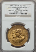 Medals and Tokens, 1904 Medal MO HK-302 Louisiana Purchase Expo MS65 NGC. ...