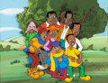 Animation Art:Production Cel, Fat Albert and the Cosby Kids Production Cel and MasterPainted Background (Filmation, c. 1970s-80s). ...