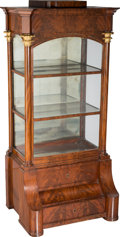 Furniture : Continental, A Fine Biedermeier Mahogany Vitrine in the Style of Philipp AntonBembé, Germany, circa 1820. 66-1/2 h x 33-1/4 w x 19-1/8 d...