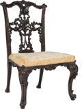 Furniture , Six Carved Mahogany and Upholstered Ribboned-Back Side Chairs after a Design by Thomas Chippendale, 19th century. 36-3/4 h x... (Total: 6 Items)