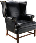 Furniture : American, A Hickory Chair Company George III-Style Black Leather WingbackChair, 20th century. 41 h x 33 w x 31 d inches (104.1 x 83.8...