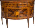 Furniture : Continental, An Italian Neoclassical Marquetry Inlaid Demilune Commode, early19th century. 36-1/2 h x 50-1/8 w x 21-3/4 d inches (92.7 x...