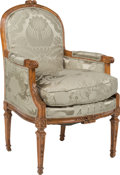 Furniture , A Pair of Louis XVI-Style Carved Fruitwood Bergères with Silk Damask Upholstery, 19th century with later upholstery. 37-1/2 ... (Total: 2 Items)